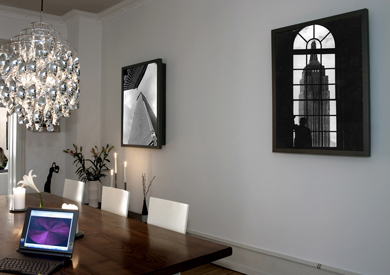 London home featuring Artcoustic speakers with digital print screens